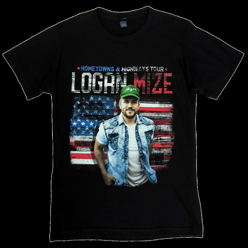 Logan Mize Black Tour Tee- Hometowns and Highways