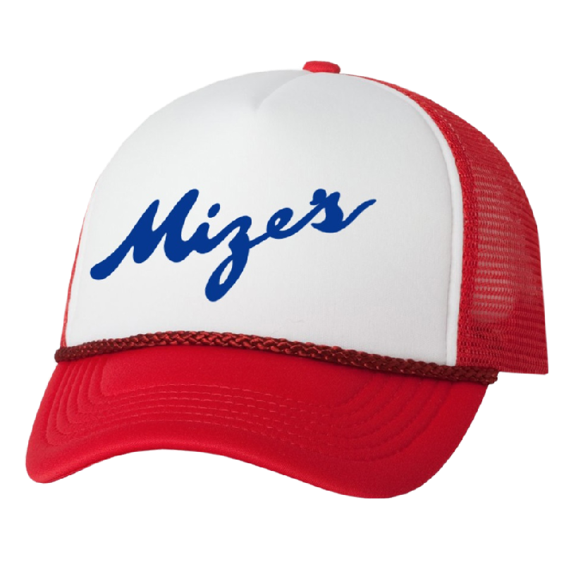 Logan Mize Red and White Trucker Hat