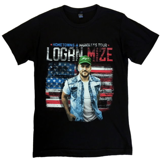 Logan Mize Black Tour Tee- Hometowns and Highways
