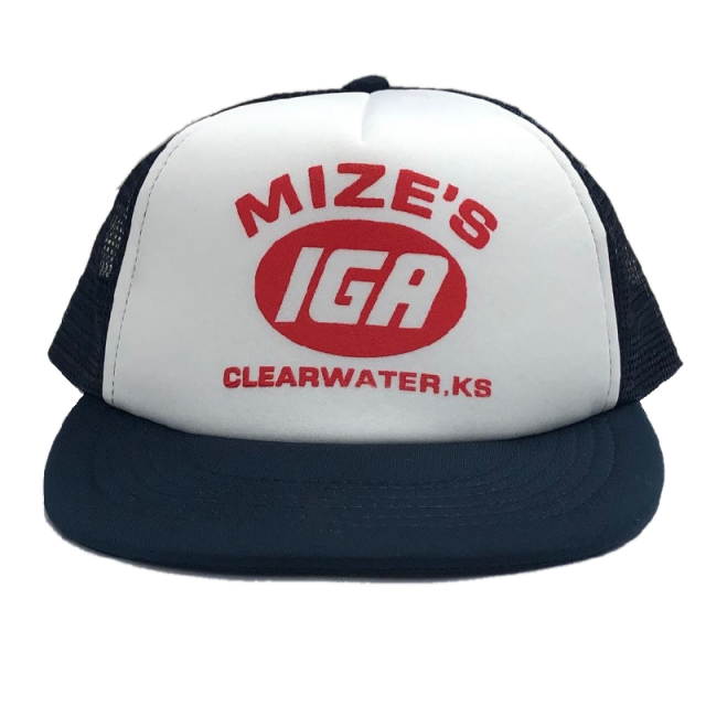 Logan Mize White and Navy IGA Trucker Hat