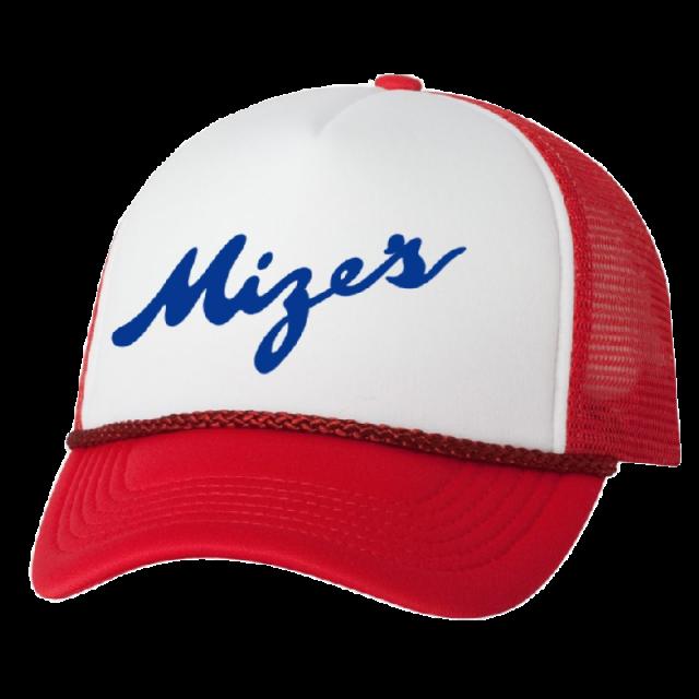 Logan Mize Red and White Trucker Hat